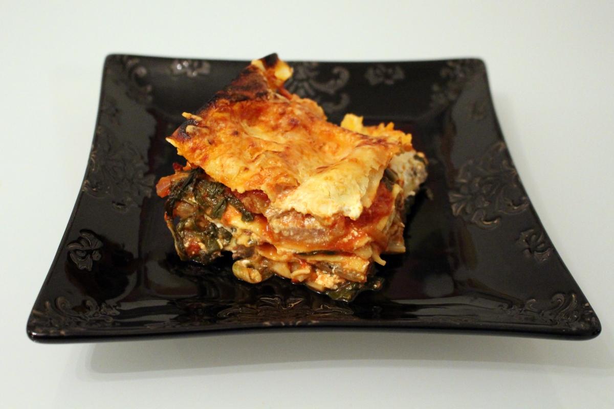 Lasagnes aux blettes, tomates et chèvre frais