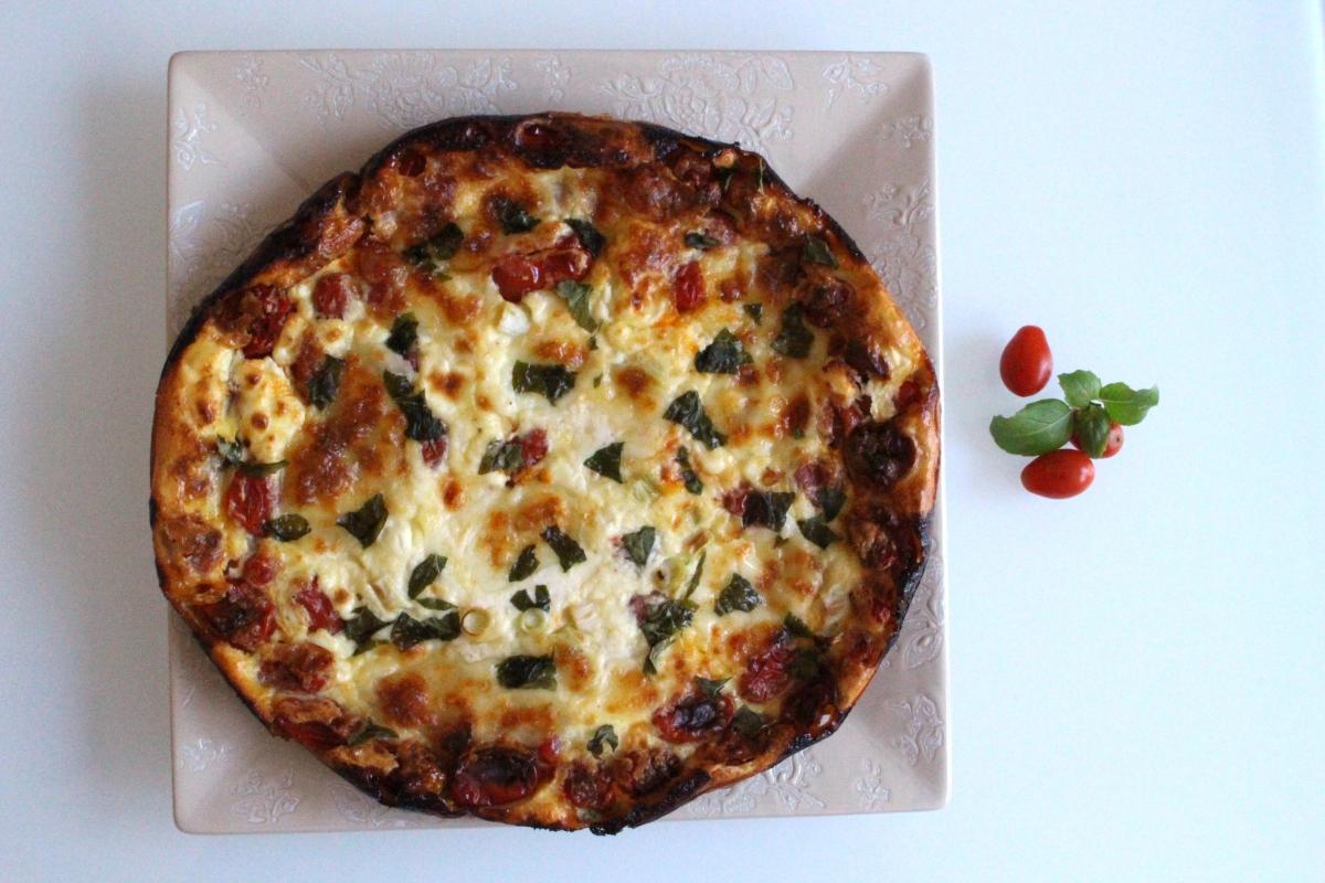 Clafoutis tomate cerise chèvre et mozzarella