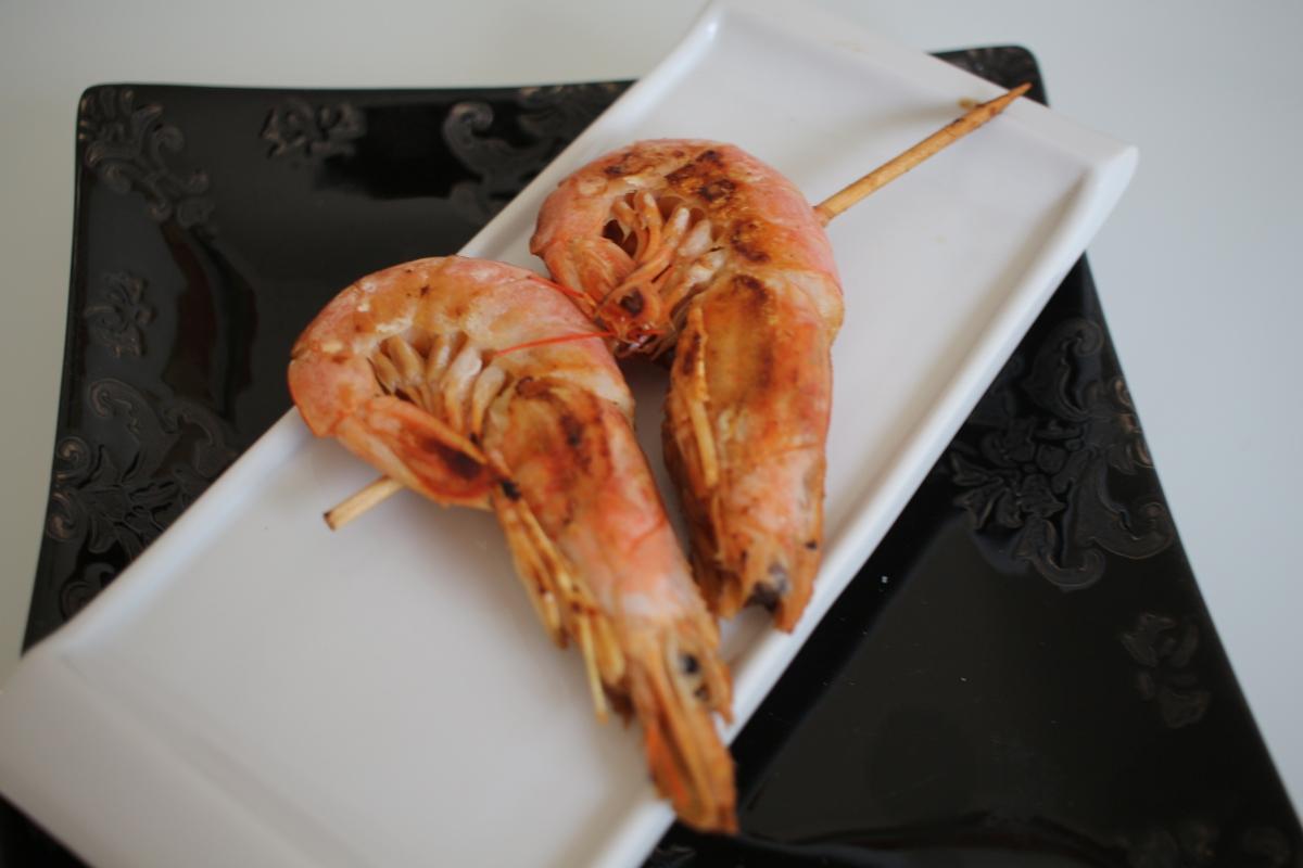 Brochette de gambas marinés